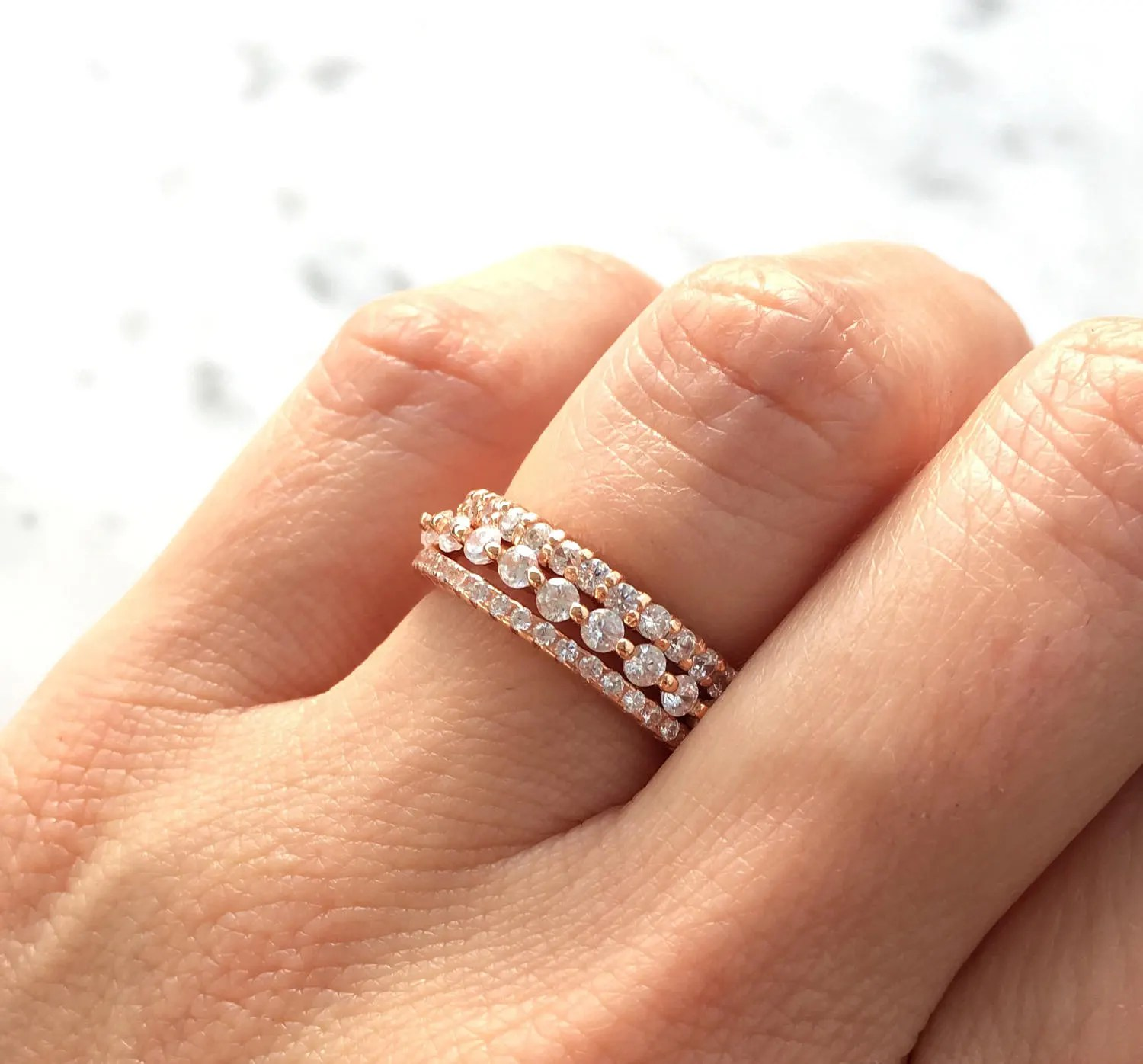 Rose Gold Stacking Ring Set. Eternity Ring Set. Sterling