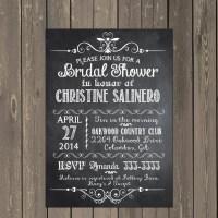 Chalkboard Bridal Shower Invitation Black and White Bridal