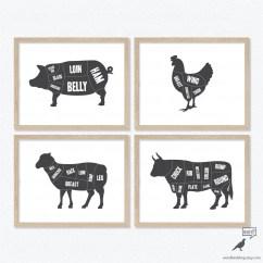 Vintage Lamb Butcher Diagram 1998 Honda Crv Wiring Repair Guides Diagrams Art 4 Print Set Black And White Kitchen Decor Porkbeef