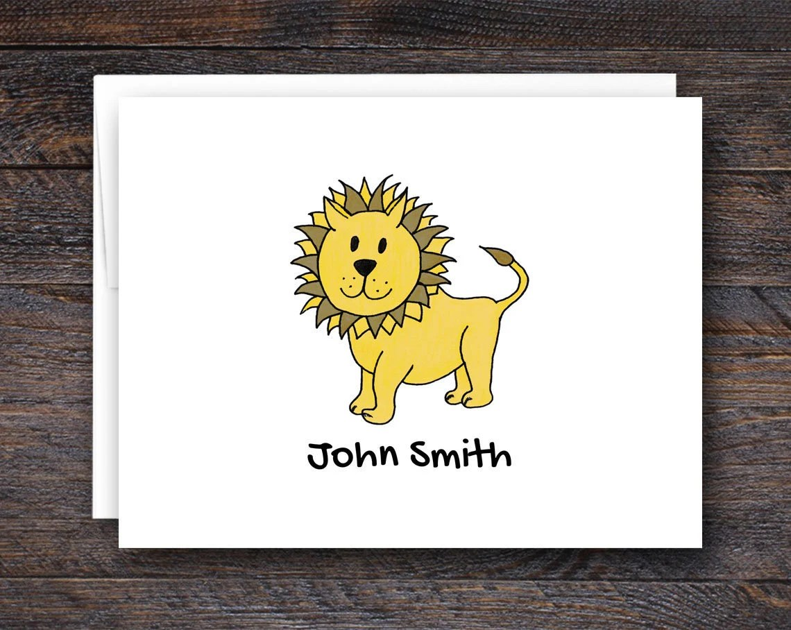 Personalized Lion Note Ca...
