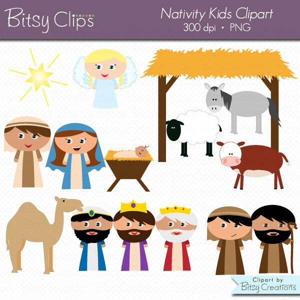 christmas nativity kids clipart