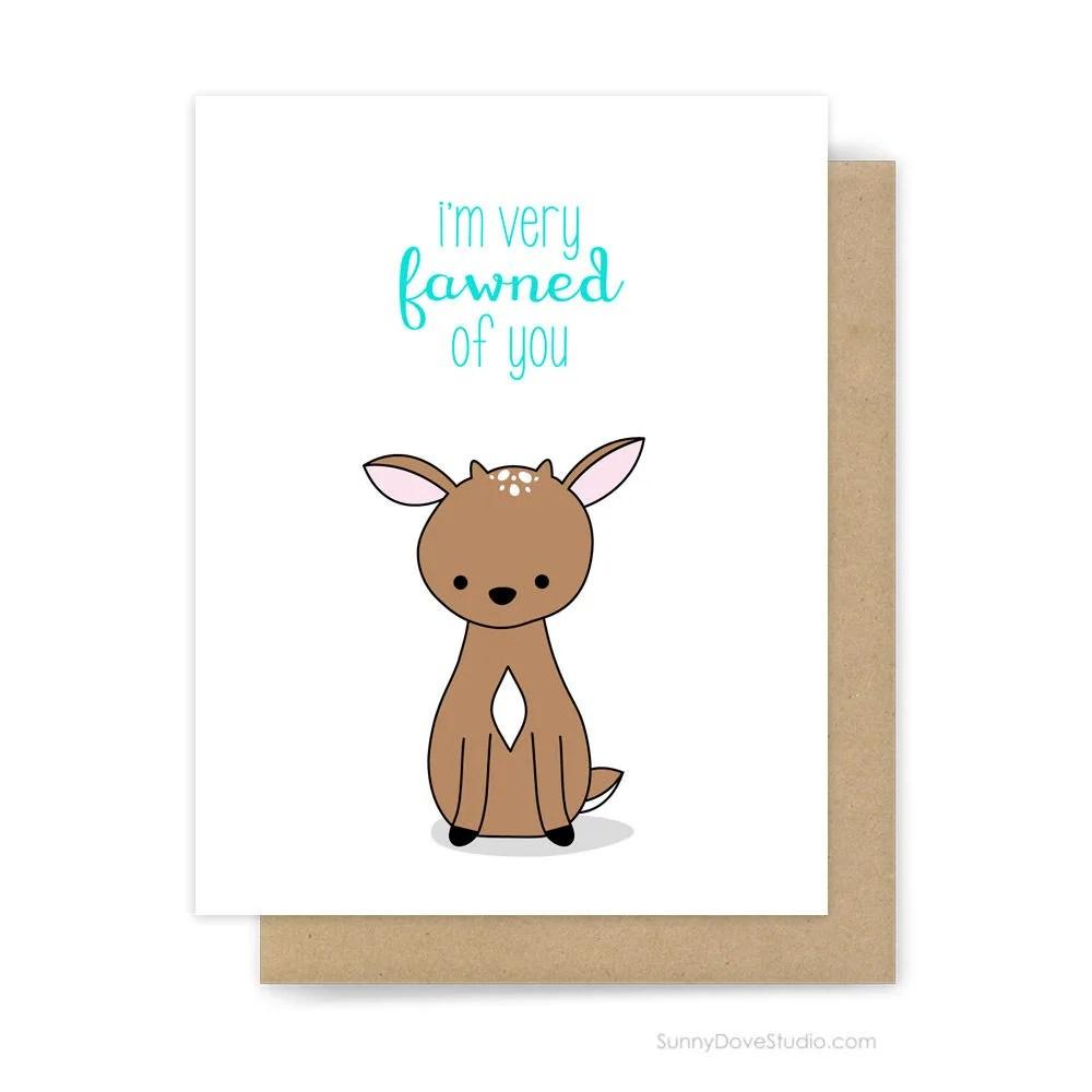 Cute I Love You Card Romantic Anniversary Deer Pun Girlfriend