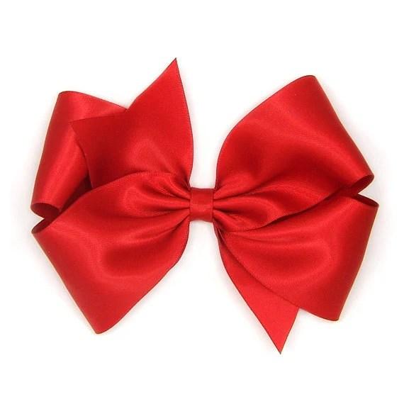 red satin hair bow 6 big