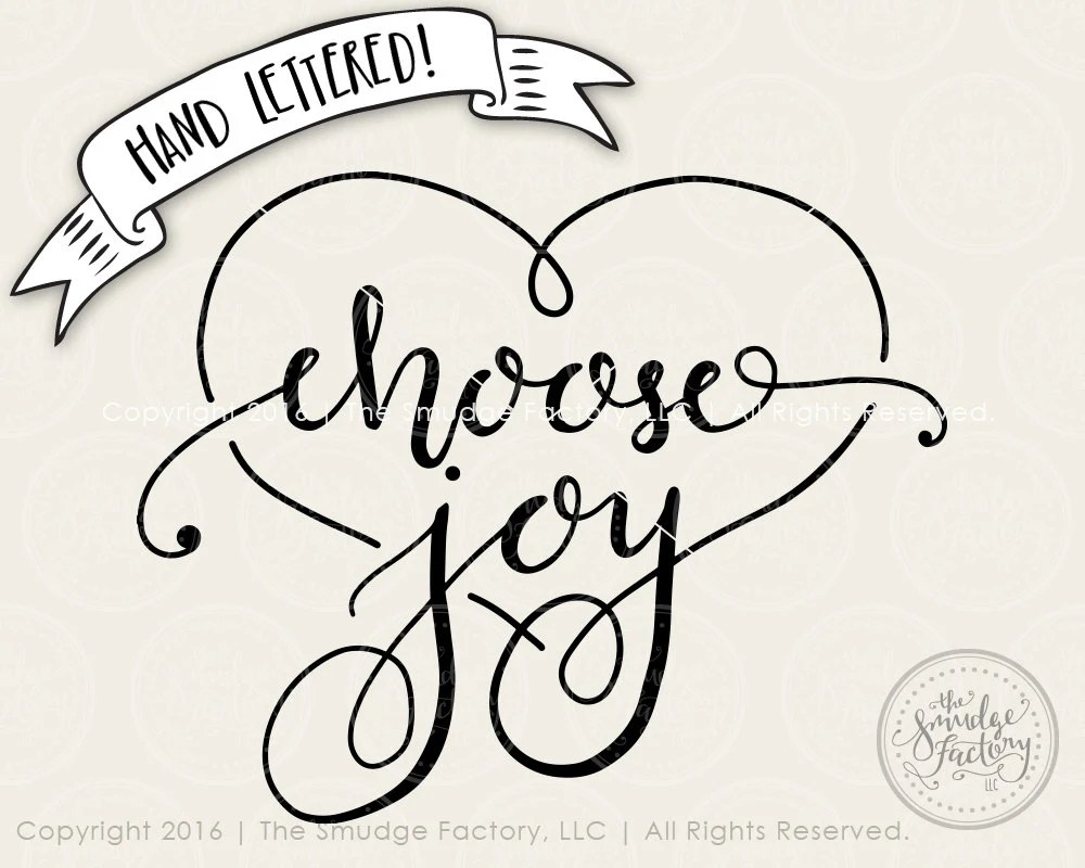 Download Choose Joy SVG Cut File Hand Lettered Vector File Silhouette