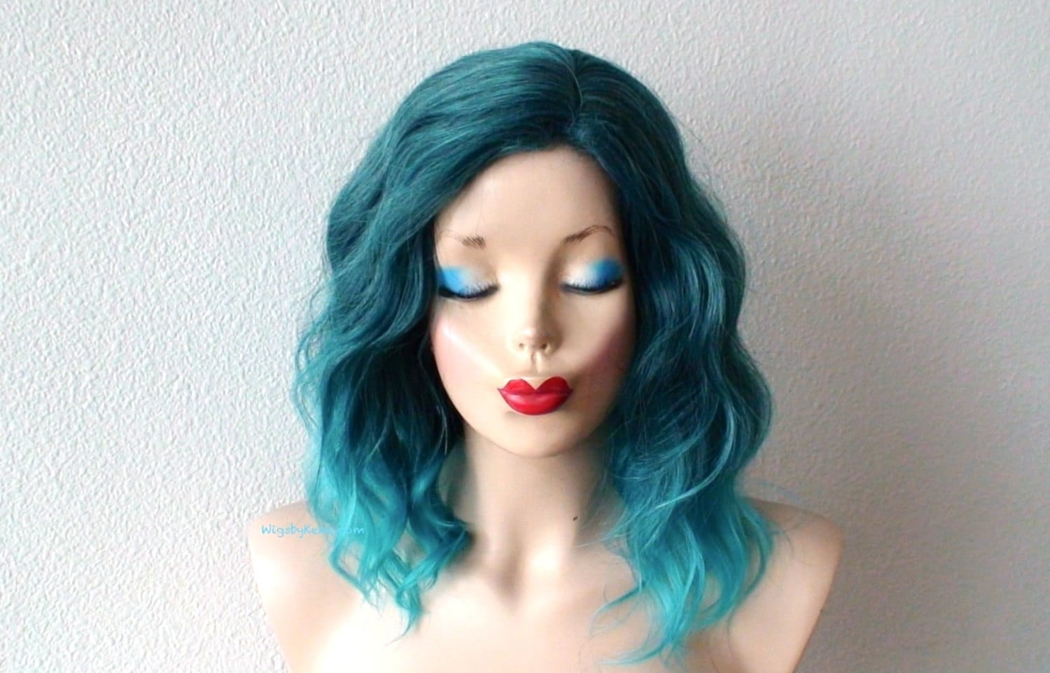 Ombre wig Pastel Teal Ombre wig Beach wave hairstyle wig