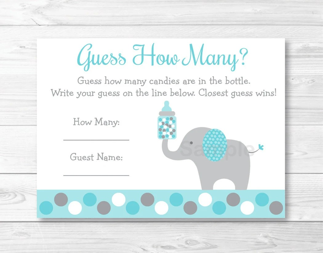 Teal Elephant Guess How Many Baby Shower Game Candy Guessing