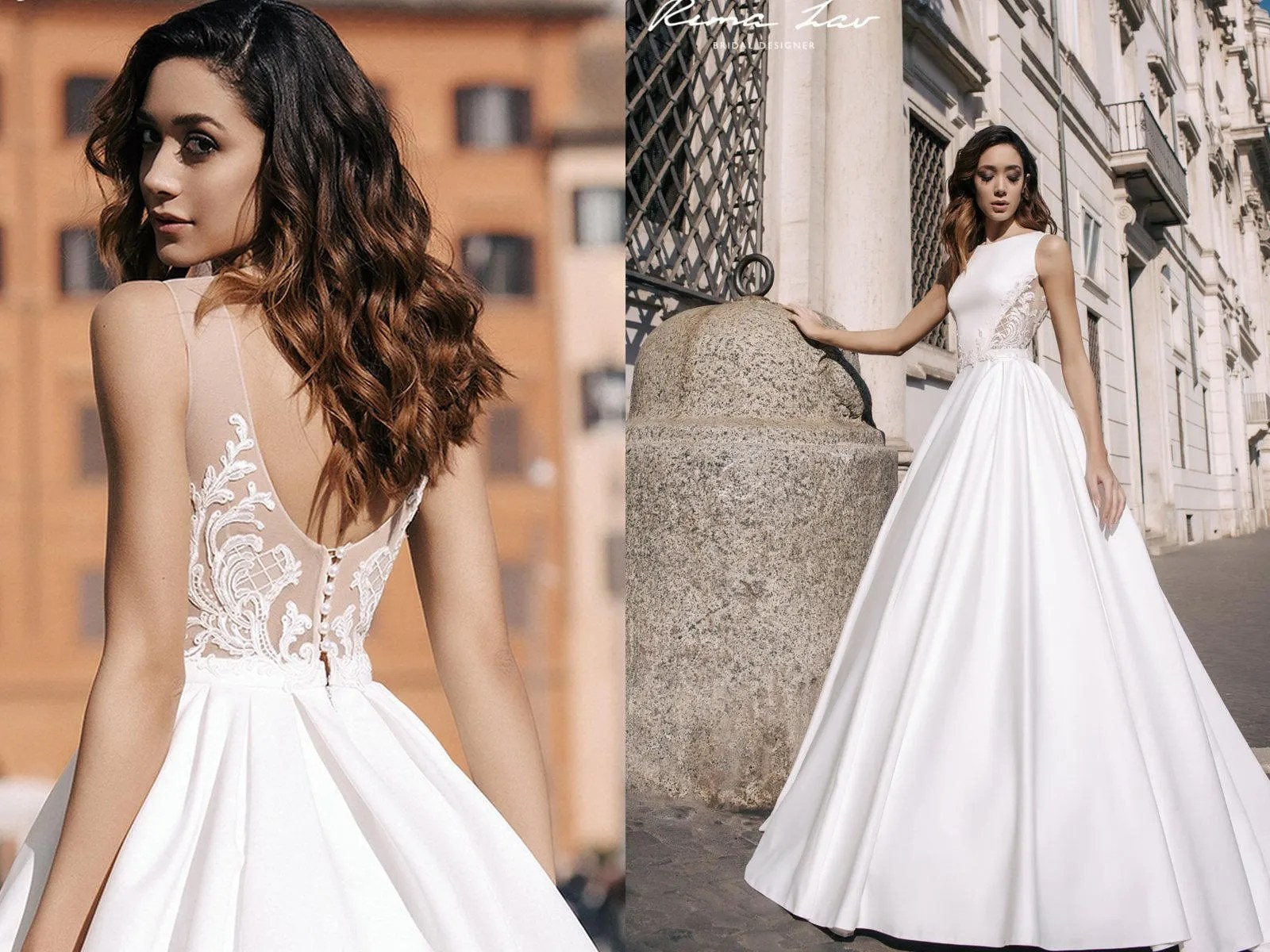 Backless A Line Satin Wedding Dress Stunning Ball Gown With