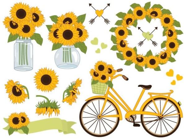 sunflowers clipart digital vector
