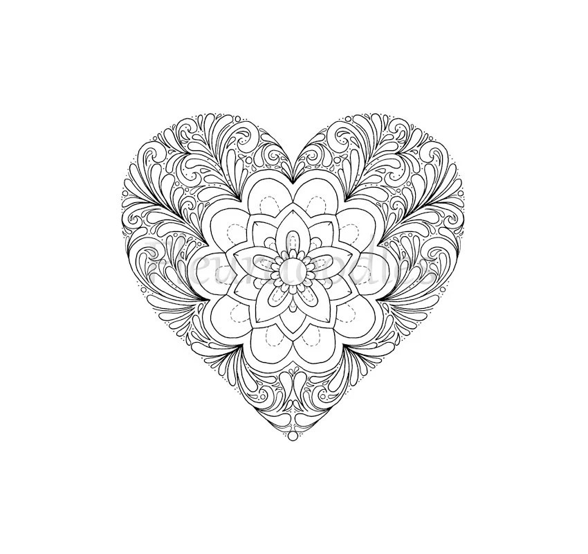 coloring page Heart printable download love colouring