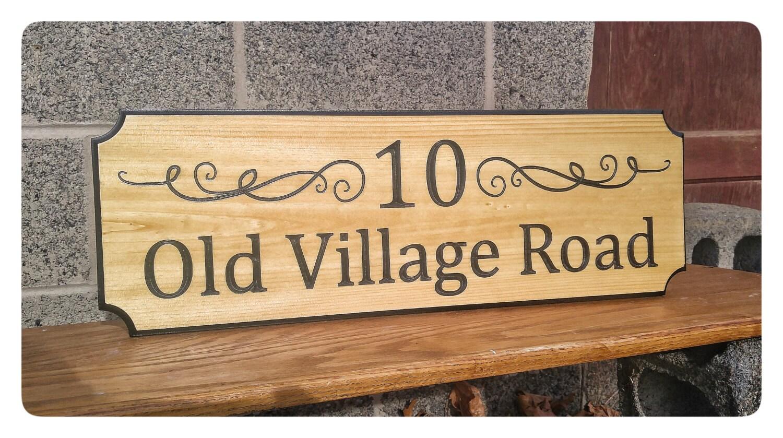 Holz-Adresse Zeichen Einschub Geschnitzte Holz Zeichen
