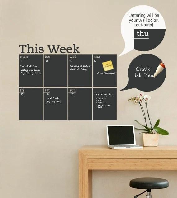 Zoom also weekly planner chalkboard calendar modern vinyl wall decal rh etsy