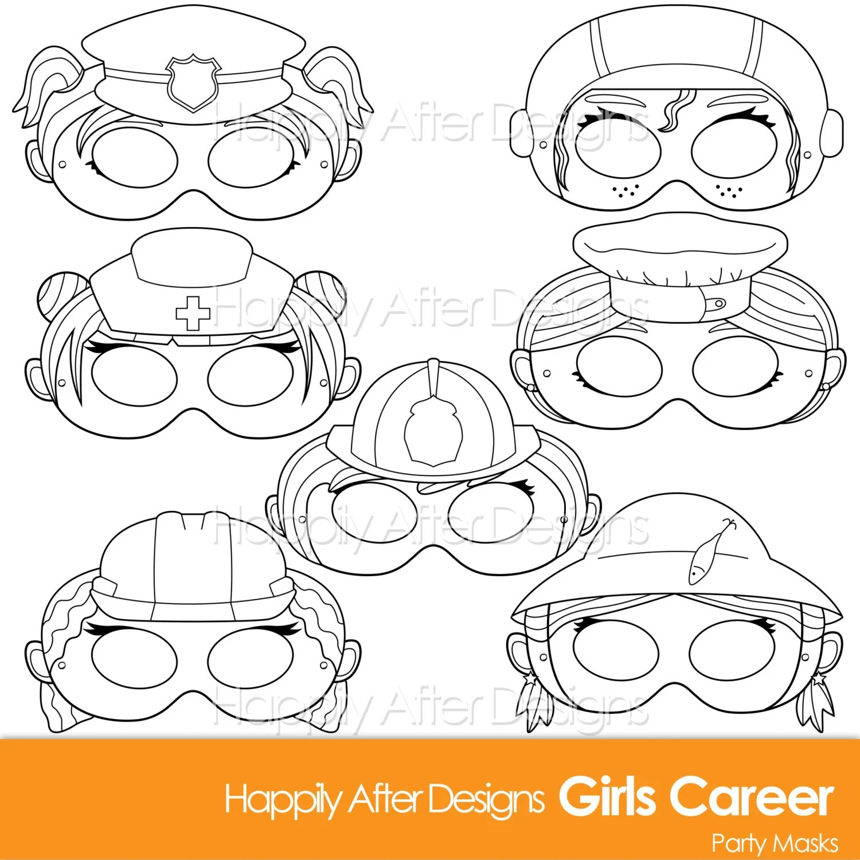 Girls Career Printable Coloring Mask Careers Police
