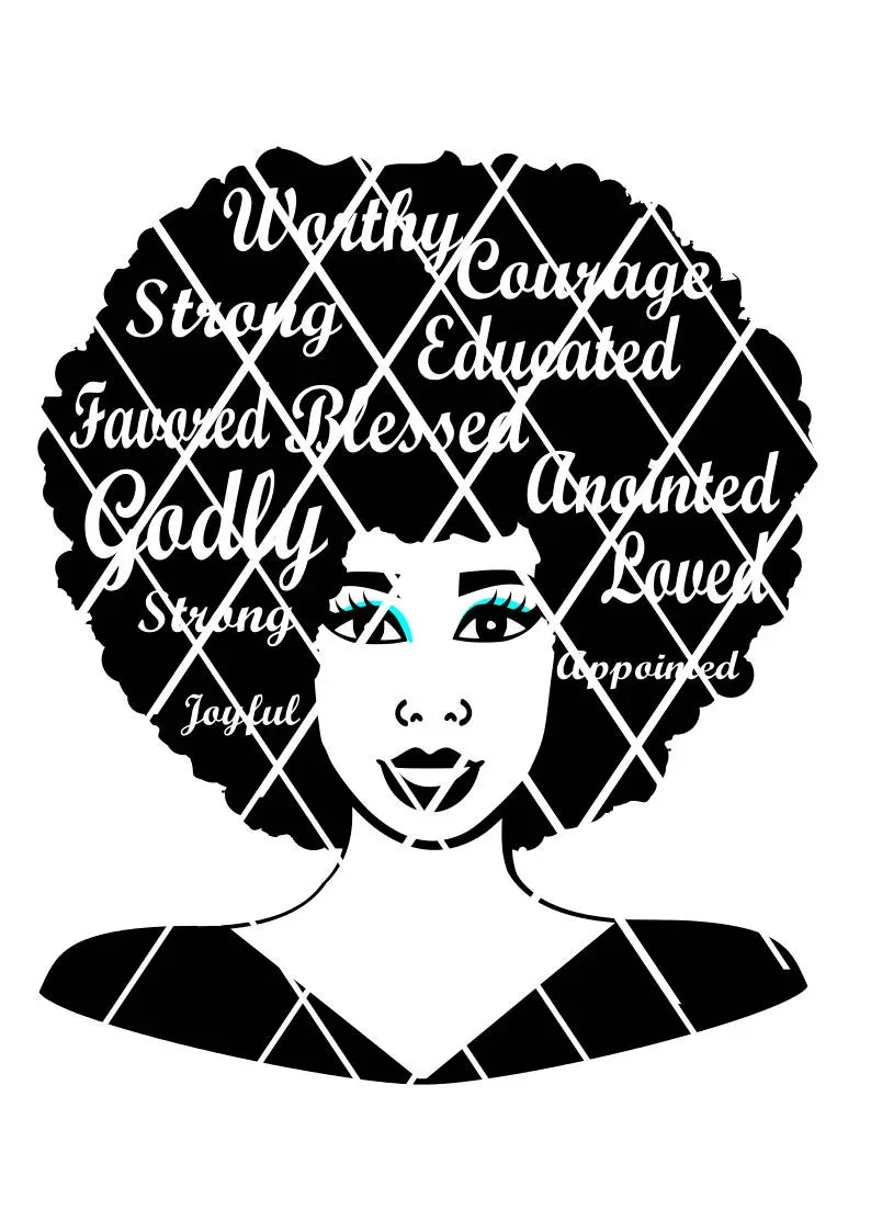 afro svg words in hair black