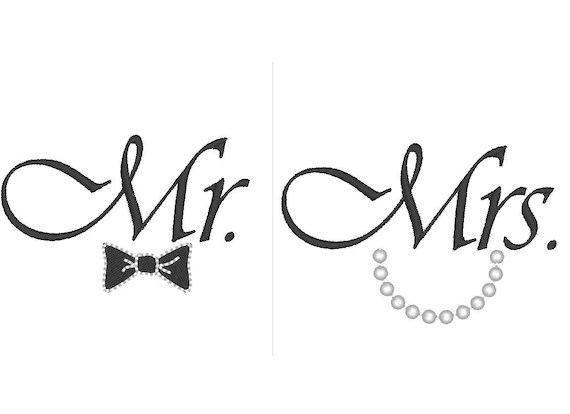 Mr and Mrs great for wedding gifts machine embroidery