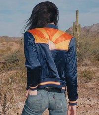 Rising Sun Jacket Navy Blue Quilted 70s style Bomber Jacket