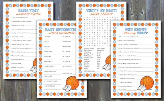 Basketball Themed Baby Shower Games Printable Instant