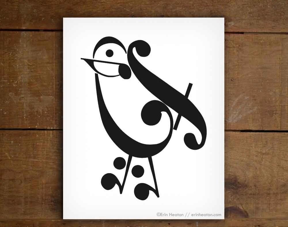 Music Teacher Gift Music Note Bird Art Print 5x7 8x10