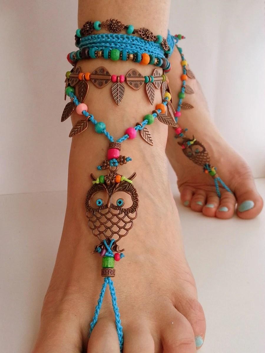 Boho Barefoot Sandals Crochet Owl Hippie Anklet