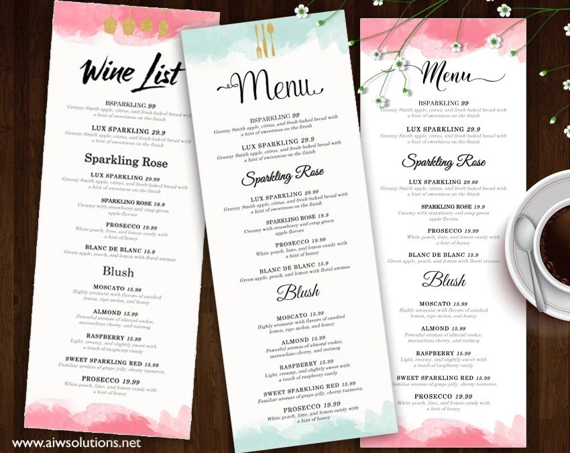 Wine List Wine Menu Template Wedding Print Drink Menu