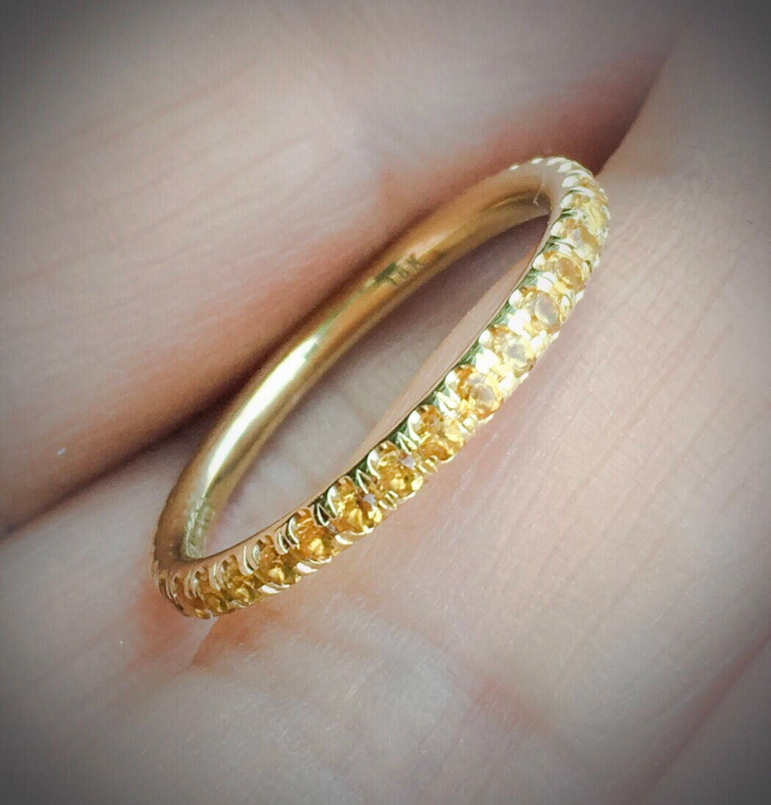 Citrine Eternity Band 14k Pave Full Natural