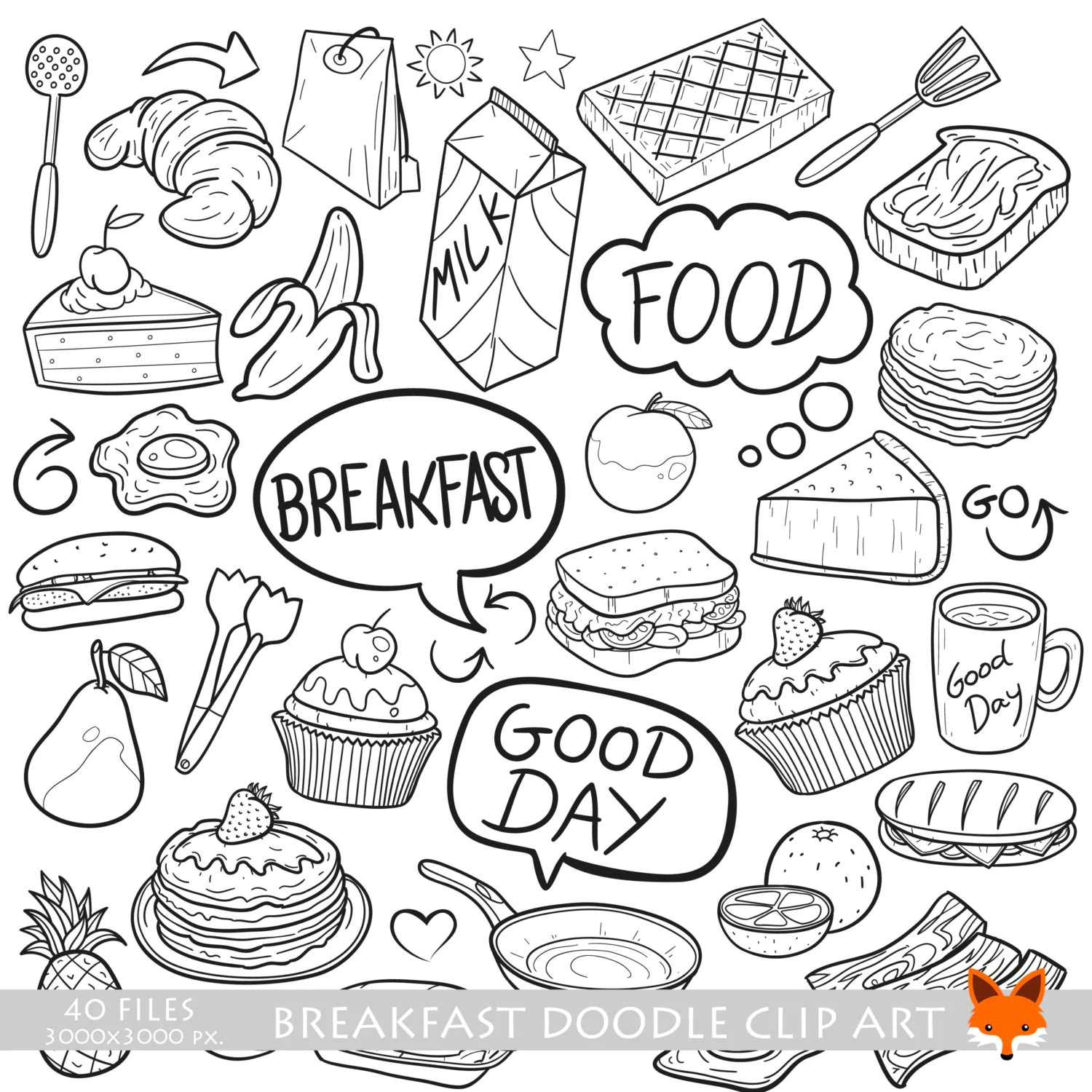 Breakfast Lunch Fast Food Launch Cooking Doodle Icons Clipart