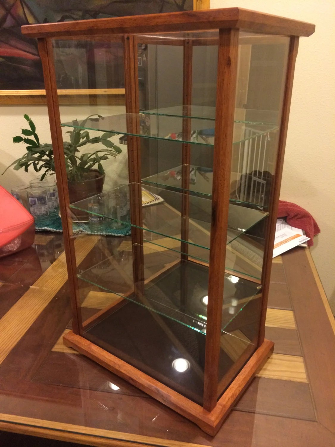Wood and Glass Display Case for Miniatures Models Crystal