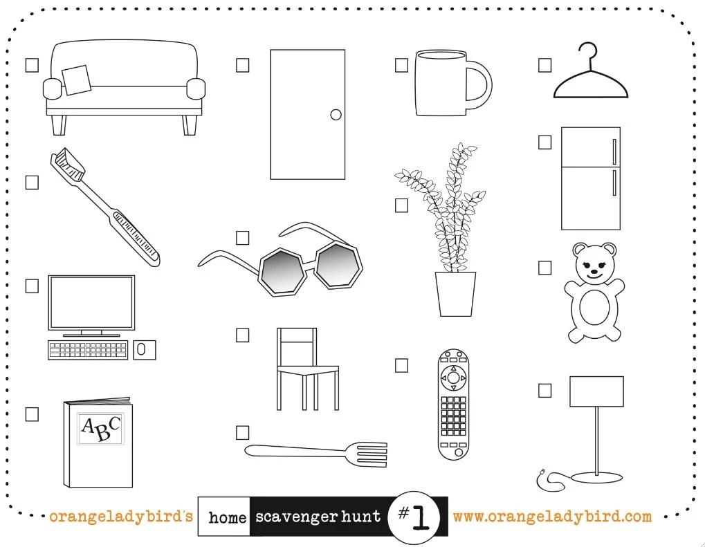 Printable HOME SCAVENGER HUNT 1 Illustrated Kid's