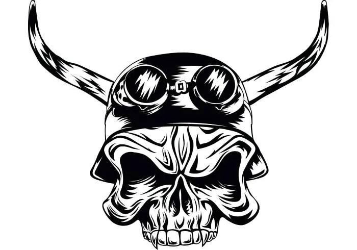 Motorcycle Skull 4 Helmet Horns Goggles Chopper Outlaw Bike