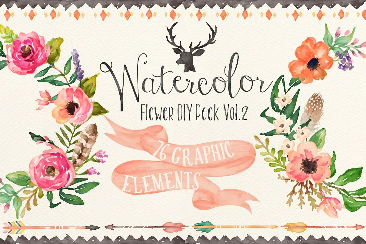 Fall Simply Southern Wallpapers Watercolor Flower Diy Pack Vol 2big Bundle