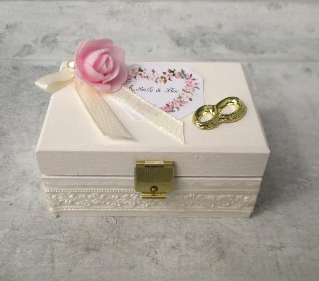 Ringbox Hochzeit Holz Ring Box white Wedding Wooden Cascet