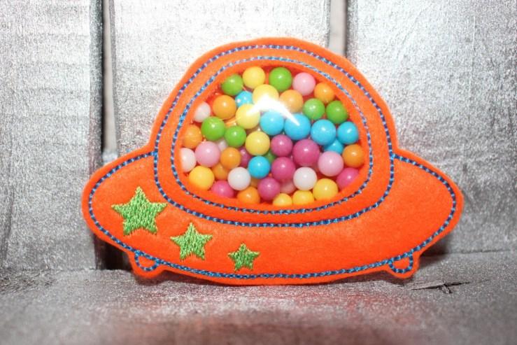 3 designs - 4x4 and 5x7 hoop FAVOR BAG - UFO - Machine Embroidery Design File, digital download