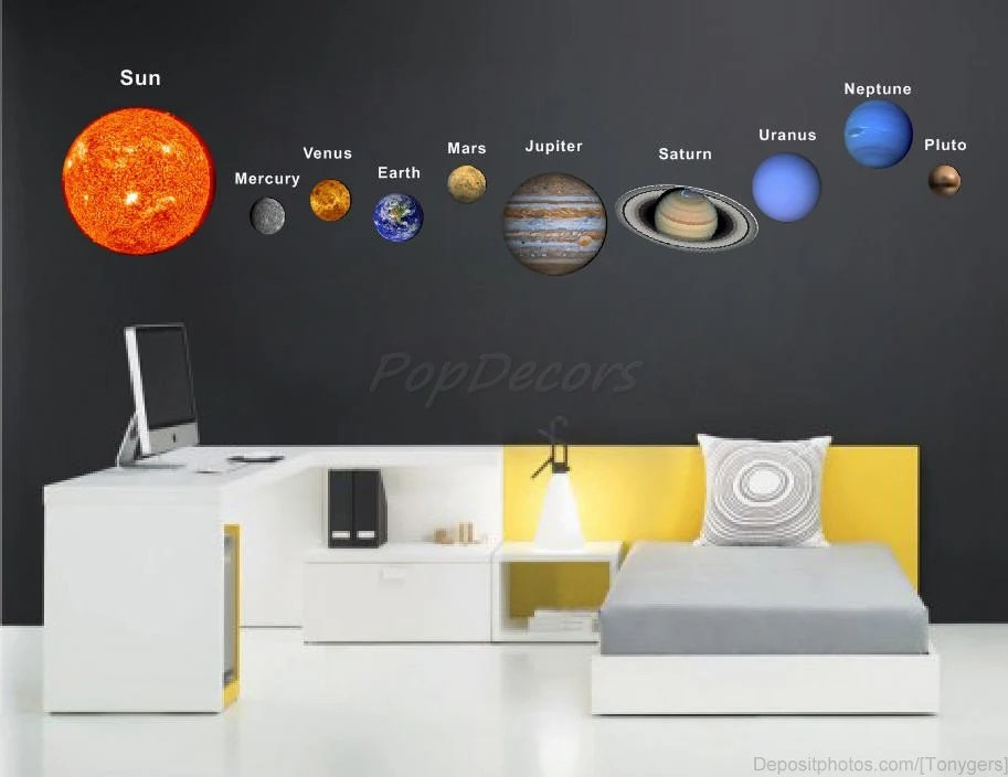 Children Solar Planets Wall Sticker Living Room Office Outer