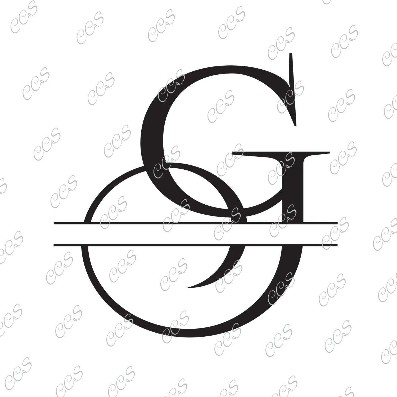 C Split Monogram Svg Split Letter C Svg Svg Dxf Eps