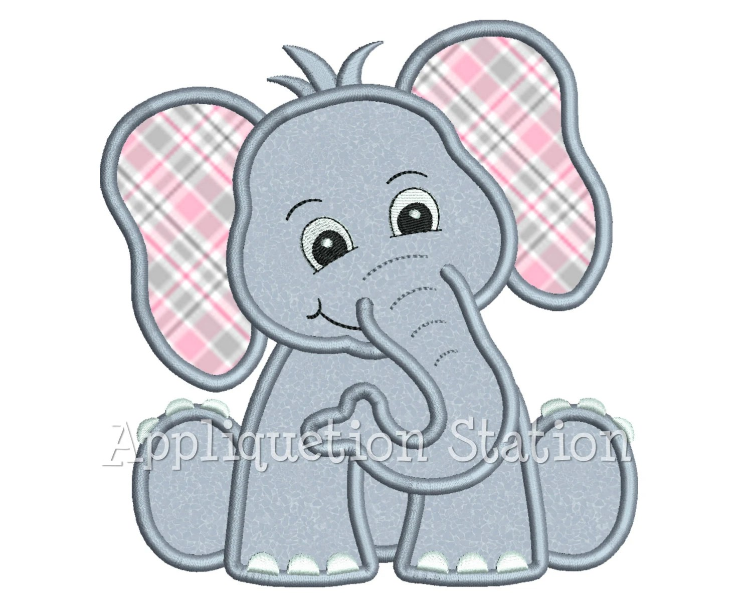 Zoo Baby Elephant Applique Machine Embroidery Design Jungle