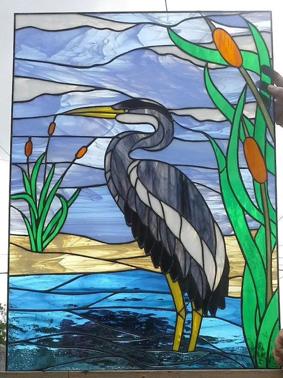 Stained glass Window Blue Heron W