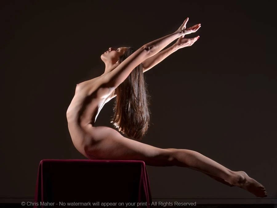 8596NC Soaring Woman Arms Legs Swept Back Arched Long Dark