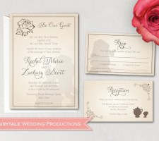 Disney Beauty & the Beast Be Our Guest Wedding Invitation