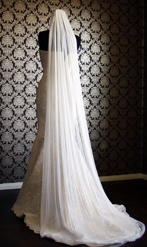 Natural Silk Tulle Cathedral Veil Cut Edge Bridal Soft