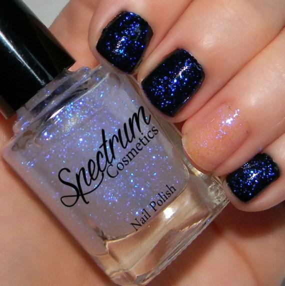iridescent blue glitter nail polish