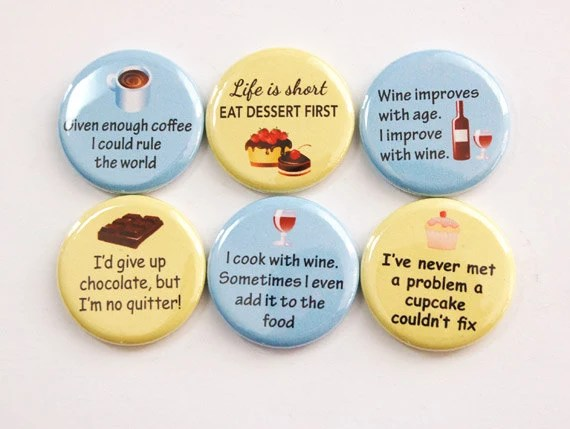 kitchen magnets pot lights for ladybug lover button food wine chocolate coffee dessert yellow blue stocking stuffer 3381