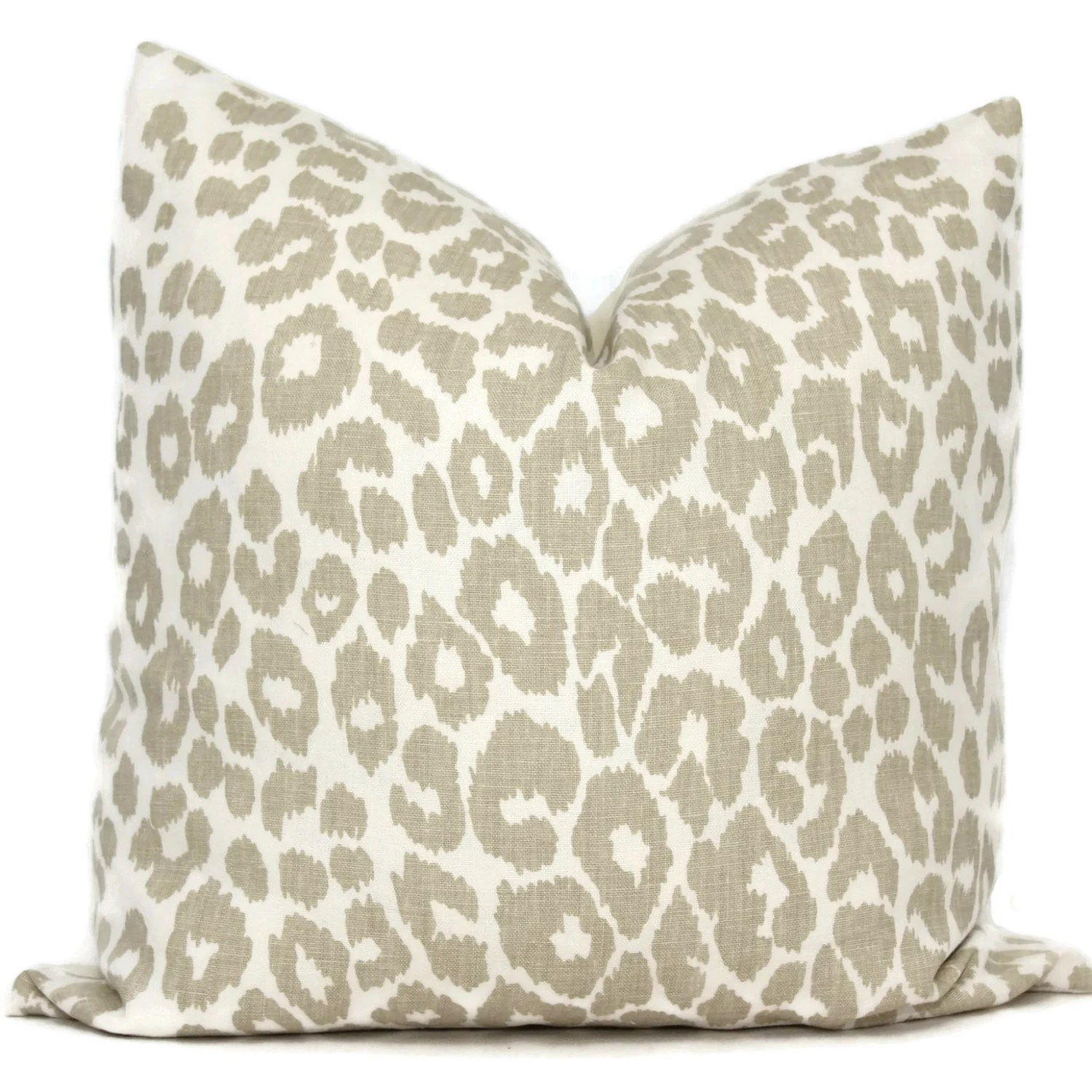 Schumacher Iconic Leopard in Linen Decorative Pillow Cover