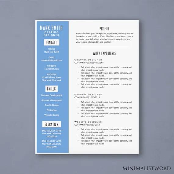 Word Resume Template With Blue Sidebar Modern Resume