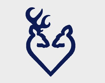 Download BUY 2 GET 1 FREE Small Outline Deer Buck and Doe With Heart