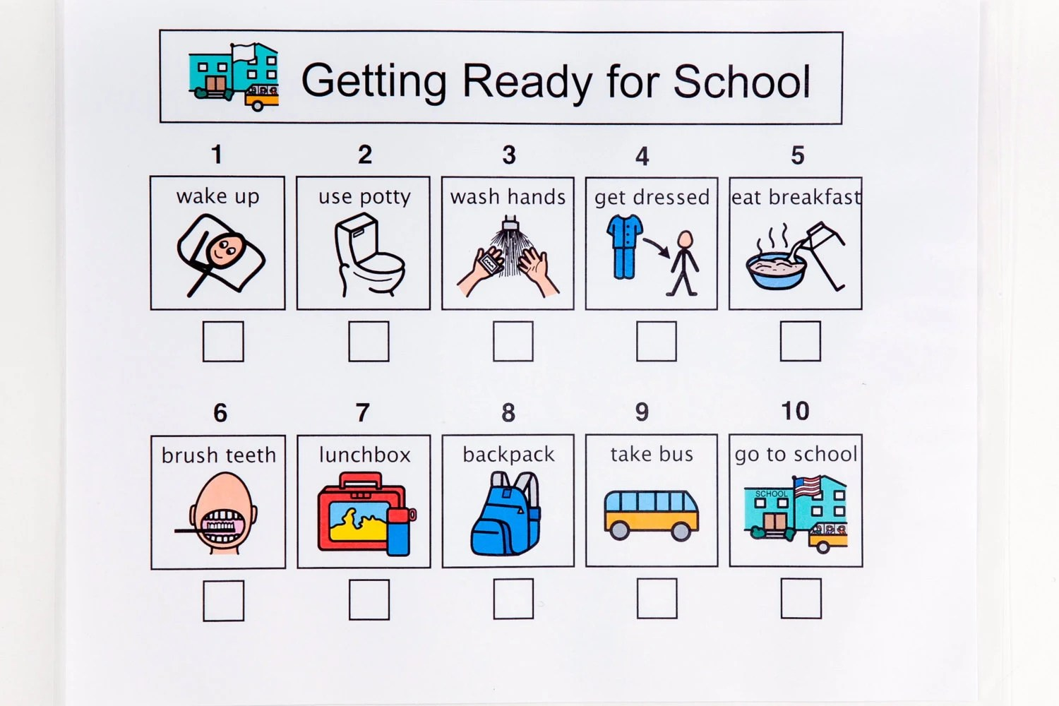 Getting Ready For School Sequence Sheet 10 Steps