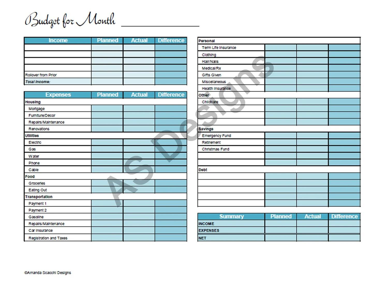 Zero Based Budget Excel Spreadsheet Instant Download Household