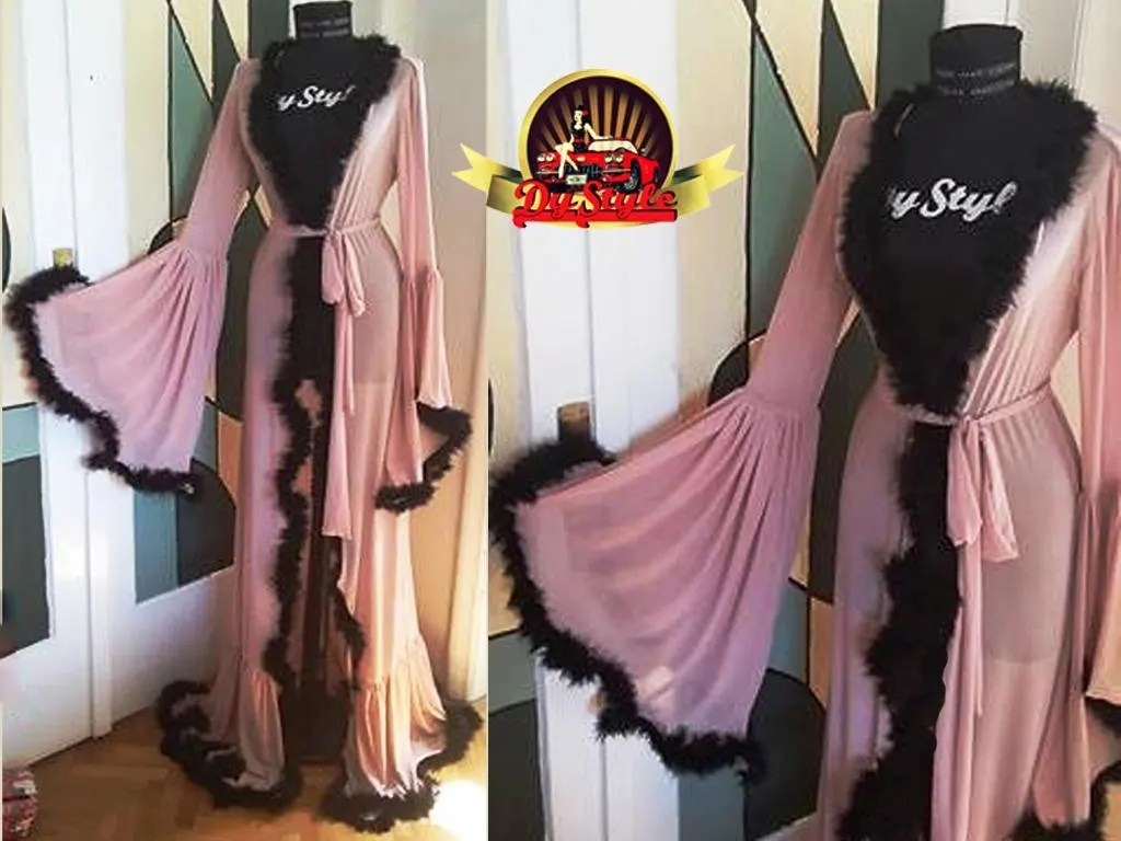 Pink And Black Boudoir Dressing Gown Marabou Feather Robe