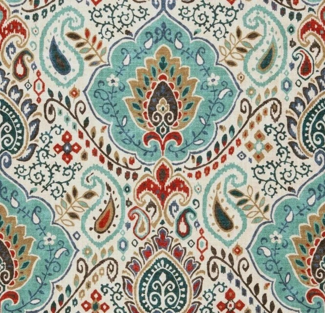 Teal Red Paisley Upholstery Fabric Custom Teal Red Grey