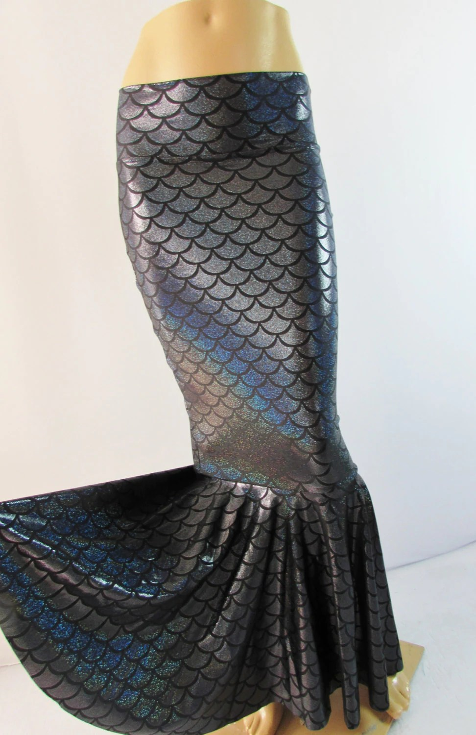 Black Mermaid Scale Skirt Stretch Costume Party