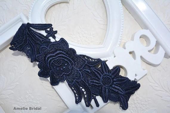 Unique Bridal Garter Dark Blue Garter Lace Bridal Garter