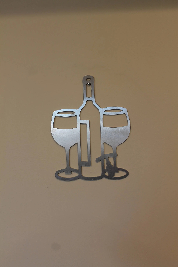 metal wine wall art sign